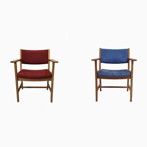 Mid-Century Oak Lacquered Armchairs by Hans J. Wegner for Getama, Set of 2