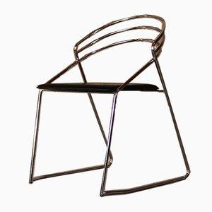 Chaise d'Appoint Noire en Cuir, années 60