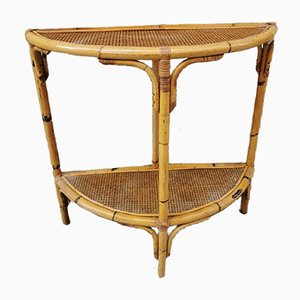 Bamboo & Rattan Console Table, 1960s