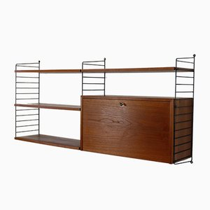 Teak Veneer Wall Unit by Kajsa & Nisse Strinning for String, 1960s