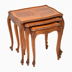 French Walnut Nesting Tables, 1930s