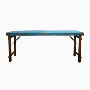 Blue Teak Console Table, 1950s