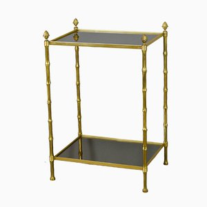 French Bronze Bamboo Mirrored Side Table from Maison Baguès, 1970s