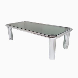 French Chrome & Smoked Glass Coffee Table, 1970s