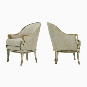 Vintage French Swans Head Armchairs, Set of 2