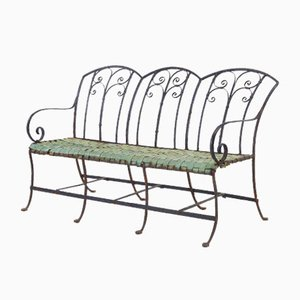 Vintage French Wrought Iron and Copper Bench