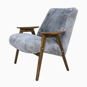 Mid-Century Grey Sheepskin Armchair