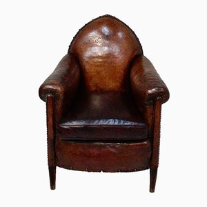 Antique Gothic Leather Club Chair