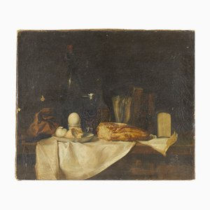 Antique French Still Life Oil on Canvas