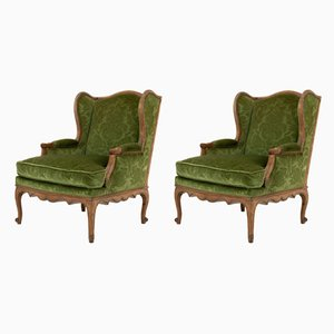 Mid-Century French Beech Armchairs, Set of 2
