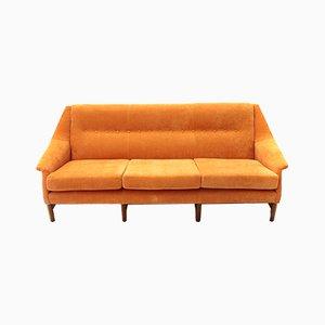 Sofá de tres plazas de terciopelo naranja, años 60