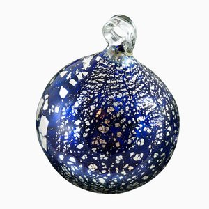 Blue and Silver Christmas Ball Blue from Made Murano Glass