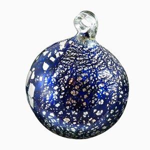 Palla di Natale blu e argento in vetro di Murano