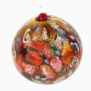 Bola navideña roja de cristal de Murano y pan de oro