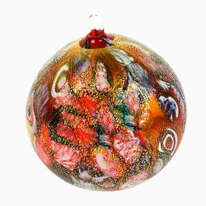 Red and Gold Leaf Christmas Ball from Made Murano Glass