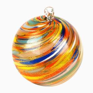 Boule de Noël Multicolore et Feuille Dorée de Made Murano Glass