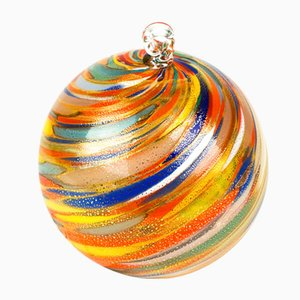 Palla di Natale colorata con foglia d'oro di Made Murano Glass