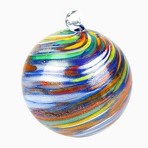 Palla di Natale blu con foglia d'oro di Made Murano Glass