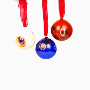 Boules de Noël Multicolore et Murrina de Made Murano Glass, Set de 3