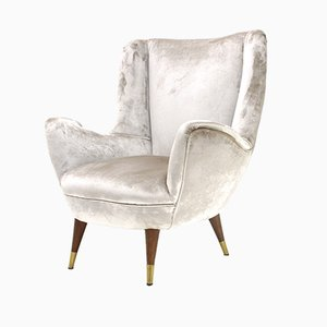 Italian Silver Velvet Armchair, 1950s