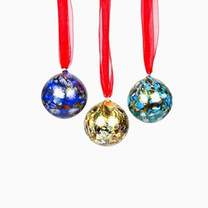 Multicolour and Murrina Christmas Balls from Made Murano Glass, Set of 3