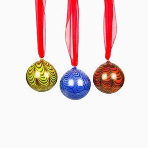Mehrfarbige Weihnachtskugeln mit 24-karätigem Blattgold von Made Murano Glass, 3er Set