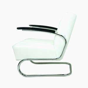 White Leather Armchair from Mücke Melder, 1930s