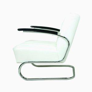 White Leather Armchair from Mücke Melder, 1930s