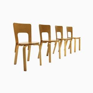 Sillas de comedor modelo 66 de abedul de Alvar Aalto para Artek, años 70. Juego de 4