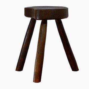 Dreibeiniger Mid-Century Hocker aus Holz, 1960er