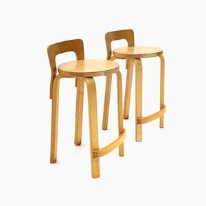 Sgabelli K65 di Alvar Aalto per Artek, anni '70, set di 2