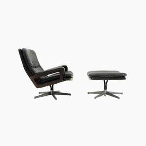 Leather Armchair & Ottoman by André Vandenbeuck for Strässle, 1960s, Set of 2