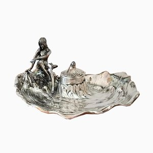 Bandeja con figura de sirena antigua Art Nouveau con tintero de WMF