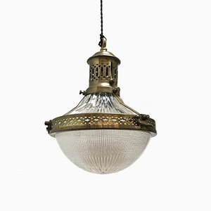 Brass & Glass Pendant Lamp from Holophane, 1920s