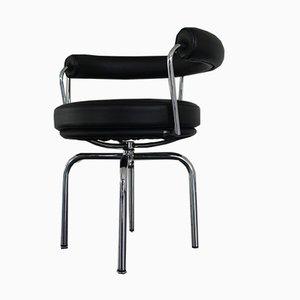 Chaise de Bureau LCX - LC7 en Chrome & Cuir par Le Corbusier pour Cassina, années 2000