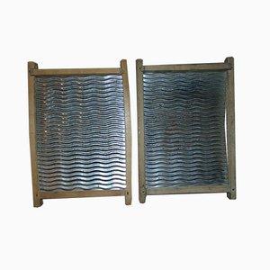 Assi da bucato Mid-Century in ferro, set di 2