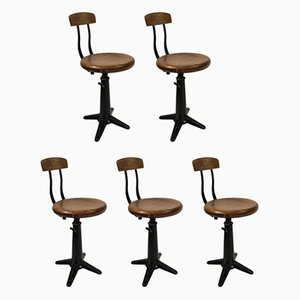 Industrial Dining Chairs by Singer for Simanco, 1920s, Set of 5