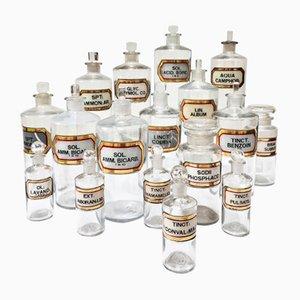 Botellitas de farmacia austriacas antiguas de vidrio transparente. Juego de 18