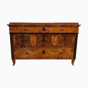 Comò Biedermeier antico in legno impiallacciato, noce e radica di frassino, inizio XIX secolo
