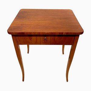 Mesa de costura Biedermeier antigua de cerezo