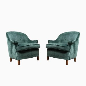 Italian Green Velvet Armchairs, 1950s, Set of 2