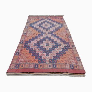 Alfombra Kilim bohemia de lana tejida multicolor, años 70