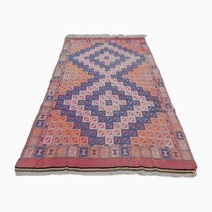 Tappeto Kilim colorato in lana intrecciata, anni '70