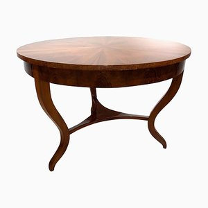 Tavolo da pranzo Biedermeier antico in noce e legno impiallacciato