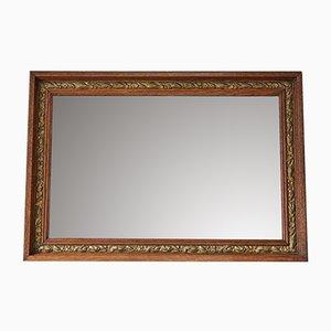 Specchio vittoriano antico in quercia e legno dorato, inizio XX secolo