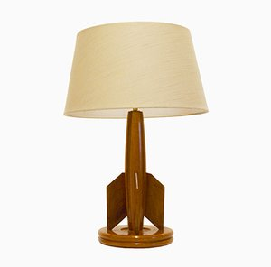 French Wooden Table Lamp, 1950s
