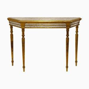 Table Console en Bois Doré, Miroir et Verre, années 60
