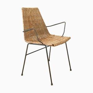 Armlehnstuhl aus Korbgeflecht, 1960er