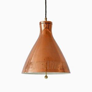 Lampe à Suspension Scandinave en Cuivre, années 60