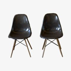 Chocolate Fibreglass Chairs by Charles & Ray Eames for Herman Miller, Set of 2